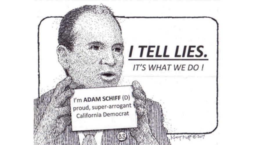 Illustration of CA Rep Adam Schiff holding a I Tell Lies card